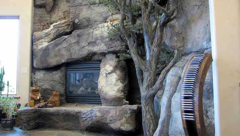 kominek ze sztucznego kamienia