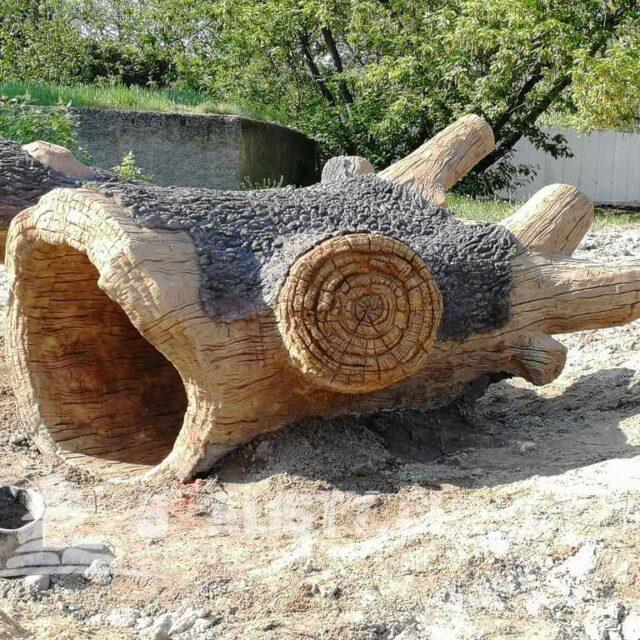 sztuczne drzewo z betonu wybieg lwów orientarium