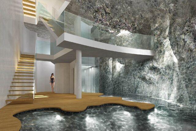 projekt powłoki ze sztucznych skał hali basenowej